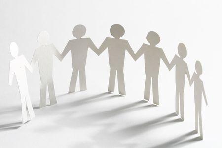 cooperativa: equipo de papel vinculados entre s� el concepto de asociaci�n