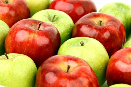 red and green apples macro close up Stock Photo - 5020279