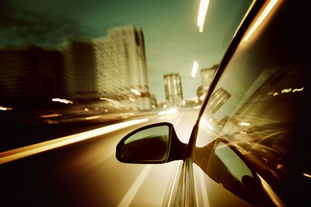 night drive blurred in motion Stock Photo - 5020308