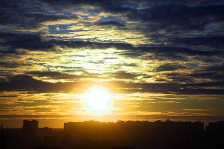 city sunrise close up yellow sky Stock Photo - 5019837