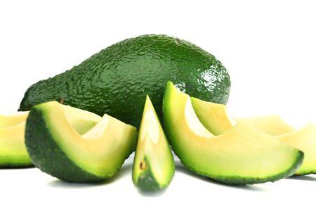 half open: avocado isolated on white background