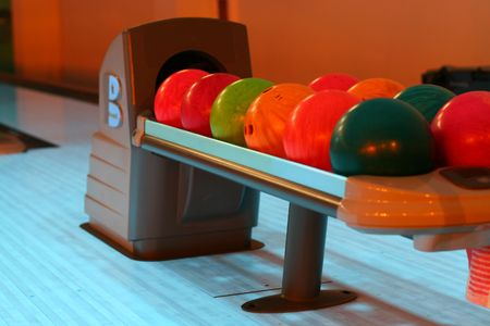 bolls: colored bowling bolls in a row  Stock Photo