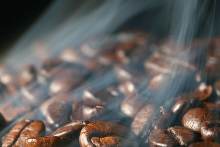 macro coffee beans in aroma smoke Stock Photo - 5956693