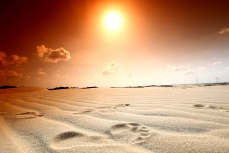 sand dune: footprint on desert sand