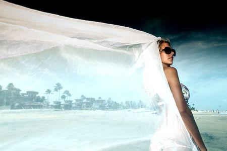 bride vacation on ocean coast Stock Photo - 5946267