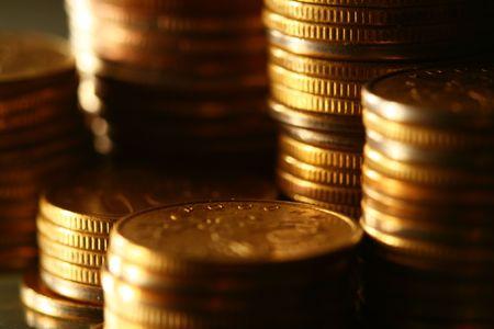golden coins macro close up Stock Photo - 5956465
