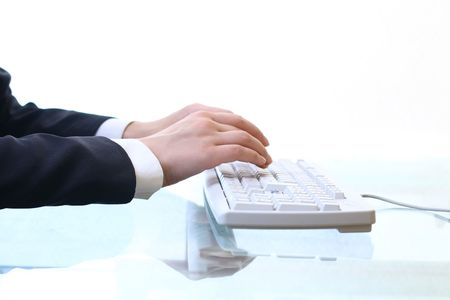 hands work on keyboard white background Stock Photo - 5956241