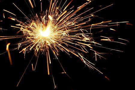 yellow sparkler holiday background on black Stock Photo - 5955988