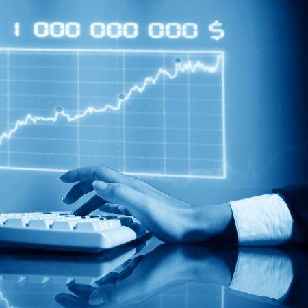 businessman input finance data information on keyboard Stock Photo - 5956415