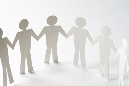 paper team linked together partnership concept Stock Photo - 5955993