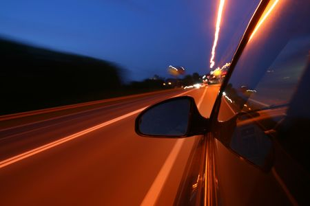 speed drive in night on car Stock Photo - 5955852