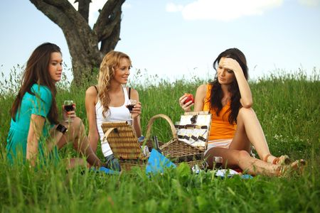 girlfriends on picnic in green grass Stock Photo - 6317935