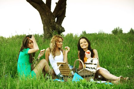 girlfriends on picnic in green grass photo