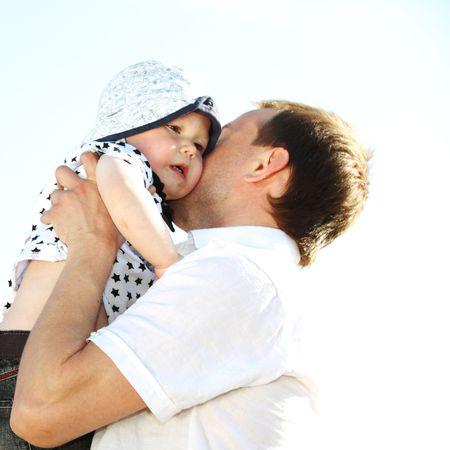 happy family blue sky on background Stock Photo - 6317204