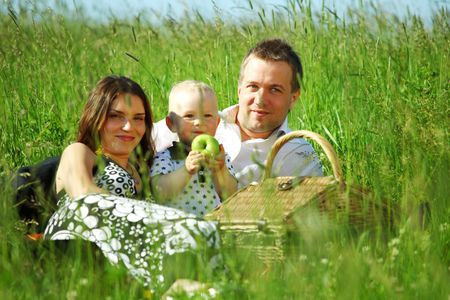 happy family on picnic in green grass Stock Photo - 6318077