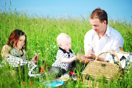 happy family on picnic in green grass Stock Photo - 6316774