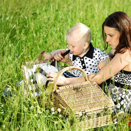 family picnic mother and child Stock Photo - 6361069