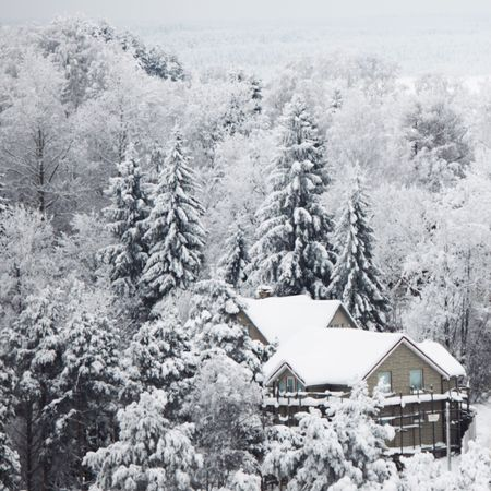 houses in winter forest snow around Stock Photo - 6364326