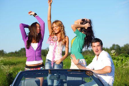 funey friends in dance car Stock Photo - 6360671