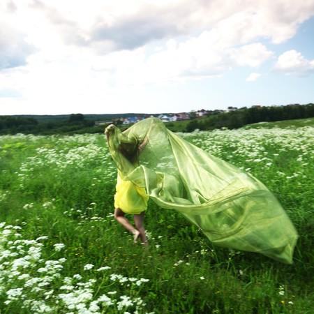 girl run  fabric in she hands Stock Photo - 7855701