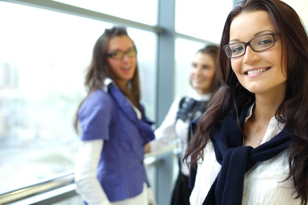 Student meeting smiley girl face on foreground  Stock Photo - 8366783