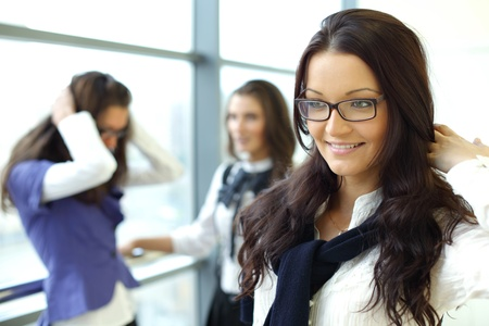 Student meeting smiley girl face on foreground Stock Photo - 8370741