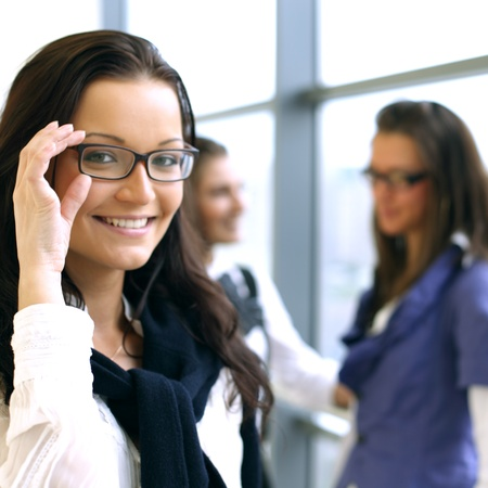 Student meeting smiley girl face on foreground Stock Photo - 8366734