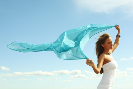 fly girl in the sky freedom concept Stock Photo - 8406961