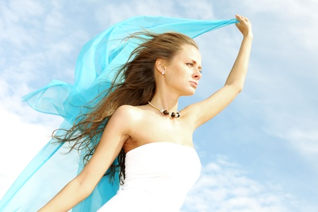 fly girl in the sky freedom concept Stock Photo - 8407000