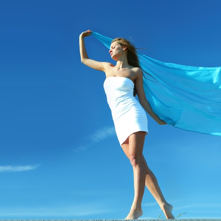 fly girl in the sky freedom concept Stock Photo - 8406901
