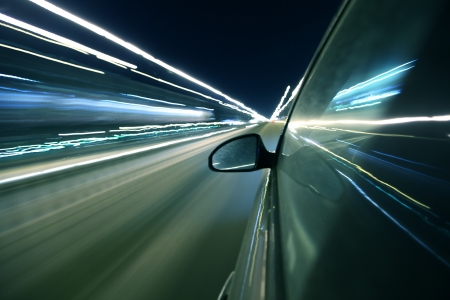 speed drive in night city photo