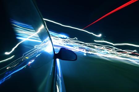 életmód: sebességű meghajtó éjszakai városban Stock fotó