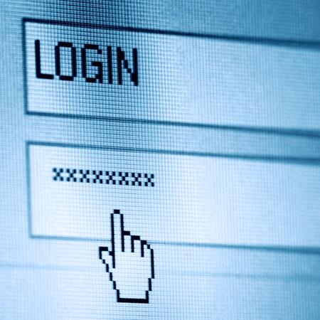 login  password on lcd screen macro Stock Photo - 8415633
