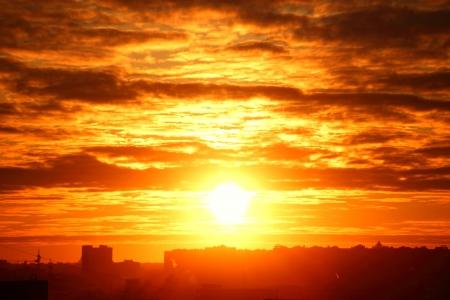 city sunrise close up yellow sky photo