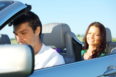love in cabrio woman and man Stock Photo - 8415604