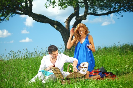very fun lovers on picnic  Stock Photo - 8414553