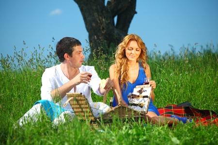 very fun lovers on picnic Stock Photo - 8414552