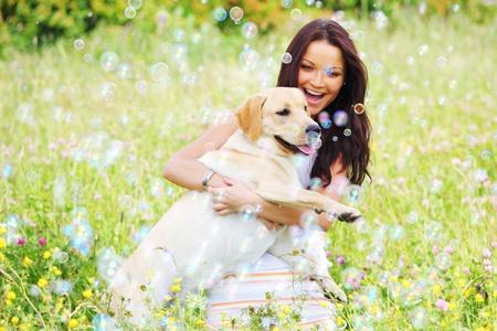 perro labrador: mujer y ella lablador perro en la hierba verde