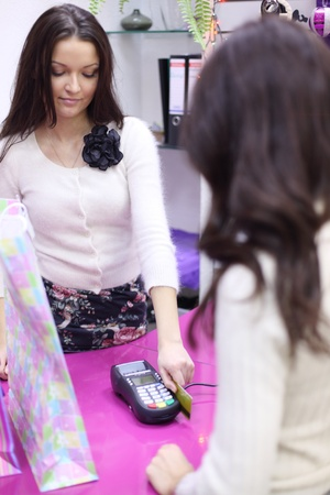 business transaction: credit card sale in shop