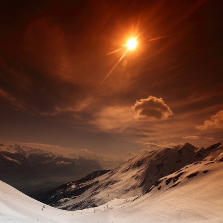 top of mountains in blue sky Stock Photo - 8453531
