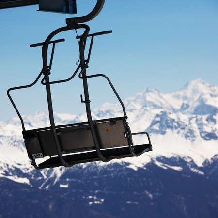 elevator ski mountains on background Stock Photo - 8453650