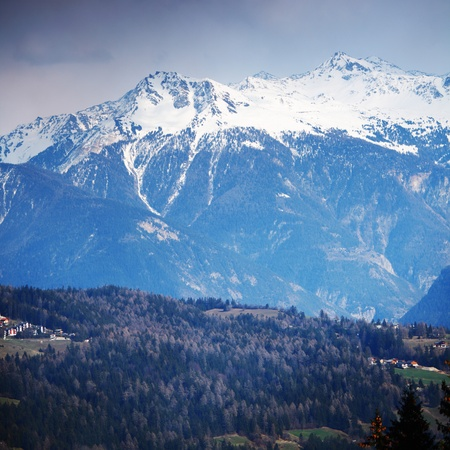 spring alps mountains scene background Stock Photo - 8454039