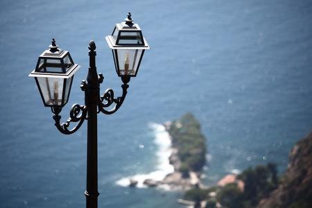 lantern in park  sea on back photo