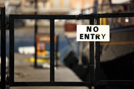 no entry sign on gate  photo