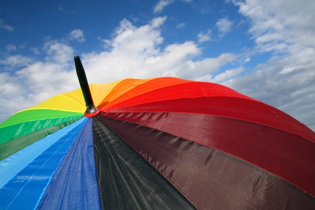 umbrella rain: umbrella on sky weather colorful background Stock Photo
