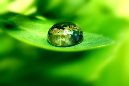 earth map in waterdrop reflection on green leaf photo