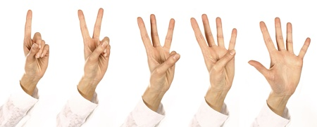 consider numbers: woman Fingers consider Numbers  from one up to five all together