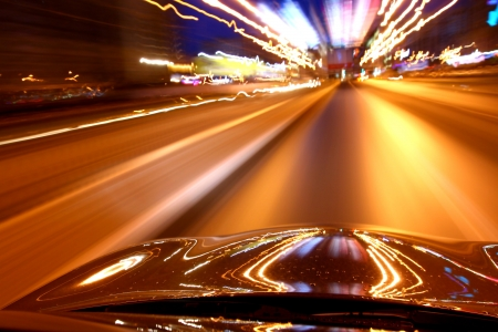 speed drive on car at night motion blurred Stock Photo