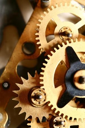 watch movement: time gear inside my rare clock Stock Photo