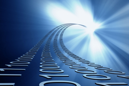 codigo binario: flujo de datos 3d abstractos fondo